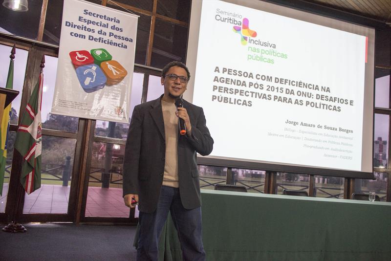 Seminário Curitiba + Inclusiva, com Discussão de Políticas Públicas.<br />-Na imagem, Jorge Amaro de Souza Borges.<br />Curitiba, 20/05/2016 - <br />Foto: Gabriel Rosa/SMCS