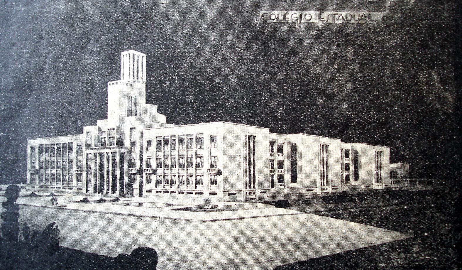 Perspectiva da nova sede do Colégio Estadual do Paraná projetado para a Praça Santos Andrade, que não foi construída.