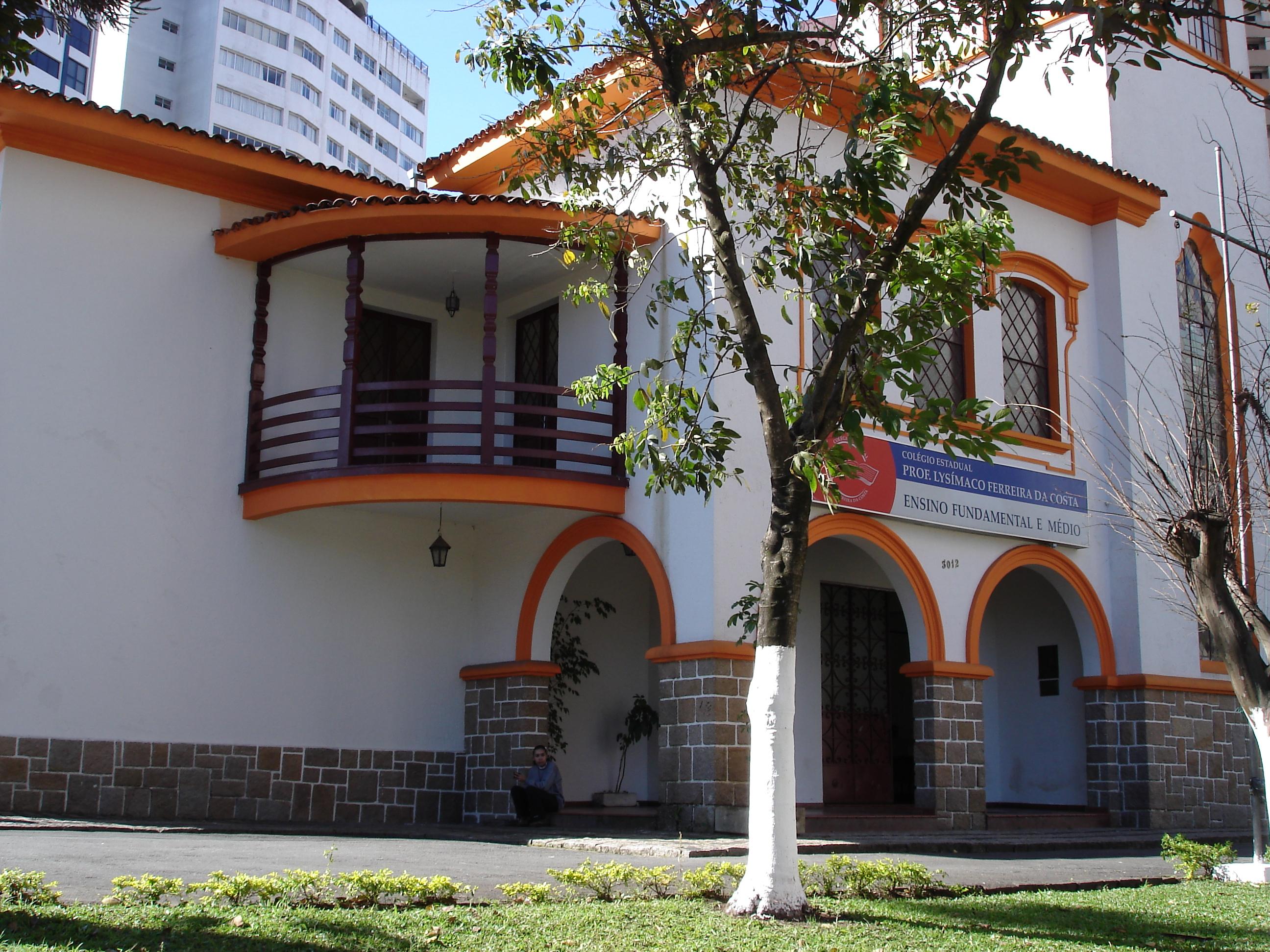 Detalhe do acesso principal do Colégio Estadual Lysimaco Ferreira da Costa, em 2008.