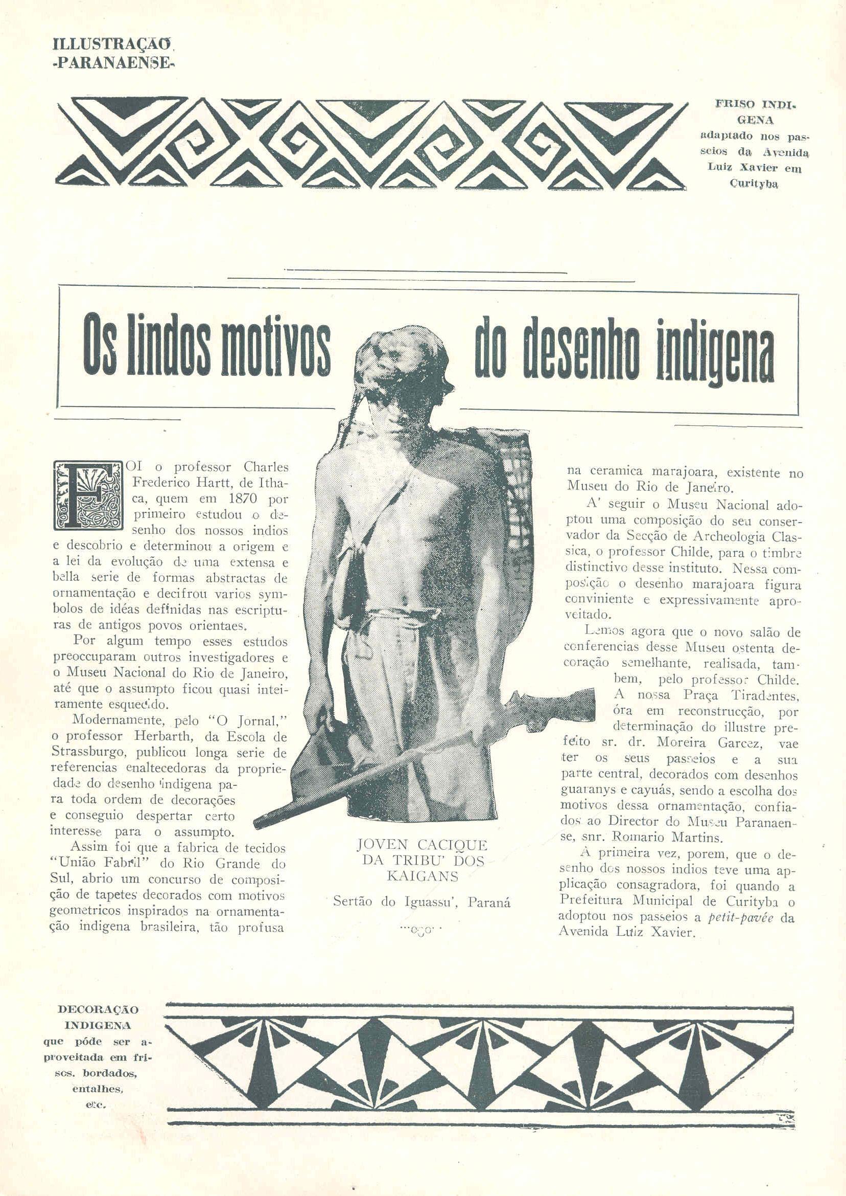Matéria da Revista Illustração Paranaense, de 1928, sobre o novo desenho para as calçadas de Curitiba, de inspiração indígena, que foi colocado na Praça Osório.
