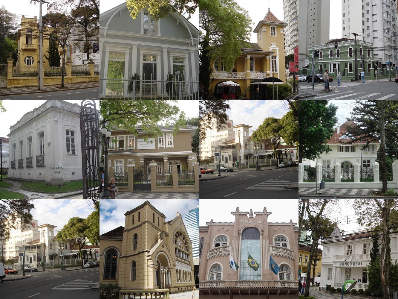 Alguns exemplares do conjunto urbano da Rua Comendador Araújo, tombado pelo Patrimônio Estadual.